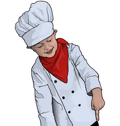 little chef pointing vector image