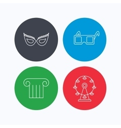 Mask 3d glasses and column icons vector image
