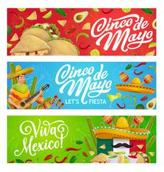 mexican holiday food sombrero guitar and maracas vector image