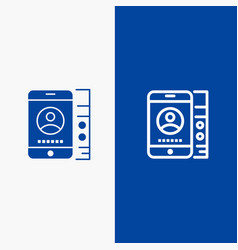 Mobile cell service phone line and glyph solid vector