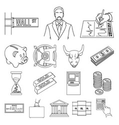 money and finance outline icons in set collection vector image