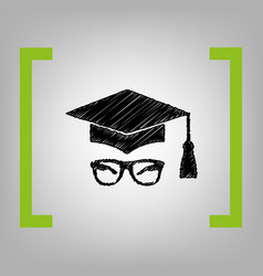 mortar board or graduation cap with glass vector image
