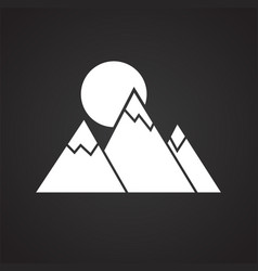 Mountains icon on black background for graphic and vector