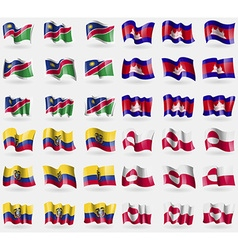 Namibia Cambodia Ecuador Greenland Set of 36 flags vector