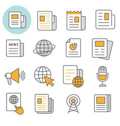 News flat line icon set vector