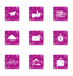 Notification icons set grunge style vector