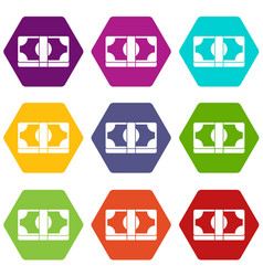 packed dollars money icon set color hexahedron vector image