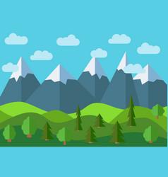 panoramic mountain cartoon landscape vector image
