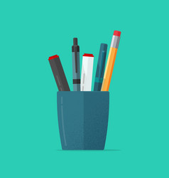 pencils holder or flat cartoon vector image