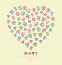 Pet paws concept in heart shape vector