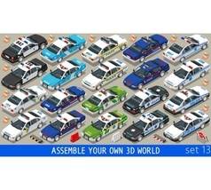 Police 01 Flat Vehicle Isometric vector