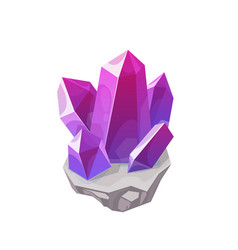Purple magic crystal gemstone rock or gem vector