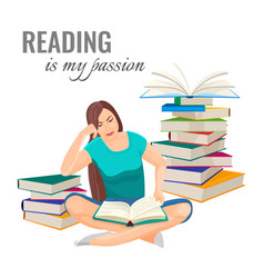 Reading my passion poster with woman among book vector