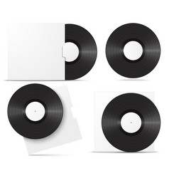 realistic vinyl record in sleeve blank mock up vector image