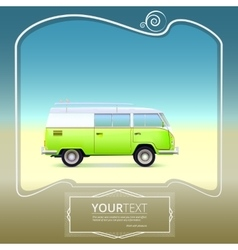 Retro bus with surf boards vector