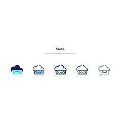 saas icon in different style two colored and vector image