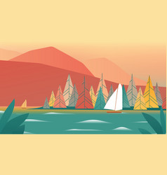 Sailboat sailing in lake with mountain vector