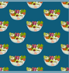 salad bowl healthy food seamless on indigo blue vector image
