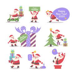 santa claus collection cartoon style vector image
