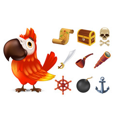 sea pirate icon set with cute red ara parrot vector image