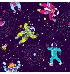 Seamless pattern with astronauts constellations vector image