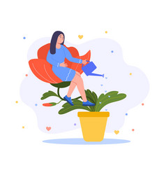 self sufficient woman sitting on flower vector image