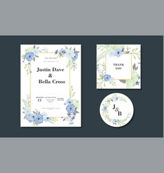 set card with flowers composition card vector image