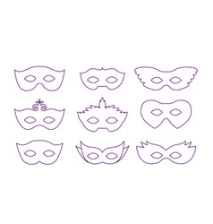 set of carnival mask on purple silhouette vector image
