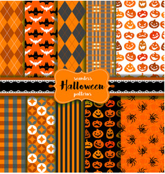 Set of seamless halloween patterns vector