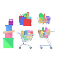 Set of shopping icons in flat style vector