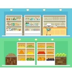 Shop interior with shelves grocery and vegetables vector