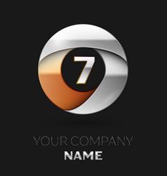 silver number seven logo symbol in circle shape vector image