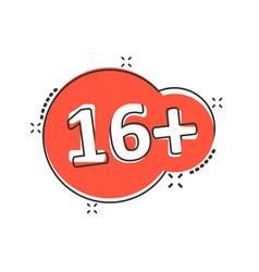 sixteen plus icon in comic style 16 cartoon vector image