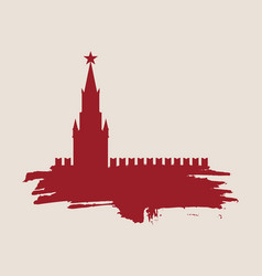 spasskaya tower of kremlin in moscow vector image