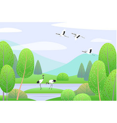 spring landscape with japanese cranes mountains vector image