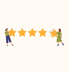 star rating girls write stars review rate vector image