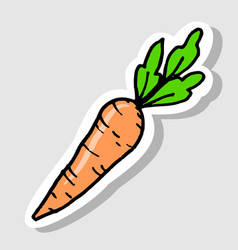sticker carrot cartoon doodle icon vector image