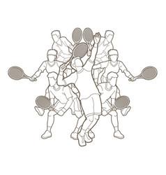 Tennis players men action outline vector