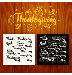 Thanksgiving Lettering Postcards vector