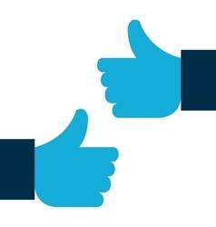 two hand like blue symbol design vector image