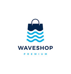 wave river shop store logo icon vector image