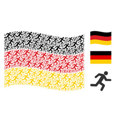 waving germany flag collage of running man items vector image