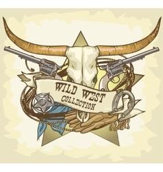 Wild West label vector
