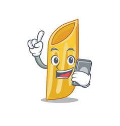 With phone penne pasta character cartoon vector
