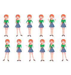 Woman positive and negative emotions set vector