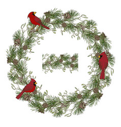 Wreath pine branches and birds cardinals vector