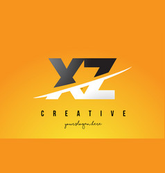 xz x z letter modern logo design with yellow vector image