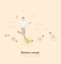 young businessman cheerful entrepreneur in vr vector image