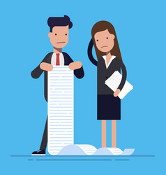 young office workers with a large list of tasks vector image