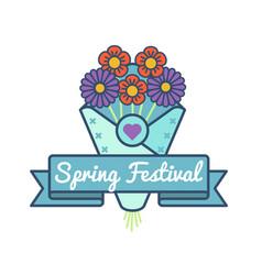 happy spring festival greeting emblem vector image